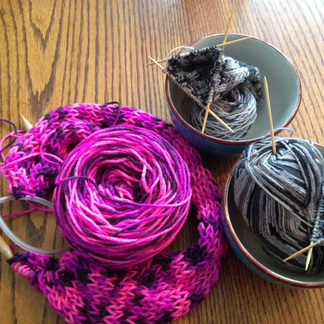 conventional vs. unconventional knitting project (last one remains a secret for now)