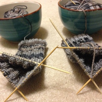 finished both legs for the manly socks, conventional knitting project : )